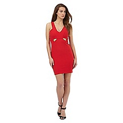 Lipsy - Ariana Grande for Lipsy red textured line cut-out dress
