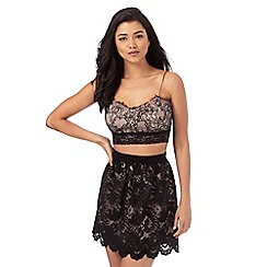 Lipsy - Ariana Grande for Lipsy black floral lace bralet