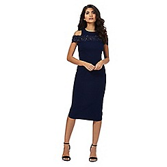 Laced In Love - Navy floral lace cold shoulder midi length bodycon dress
