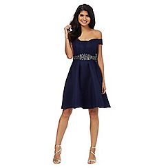 Laced In Love - Navy crystal waist dress