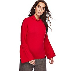 Red Herring - Red jersey fluted sleeve top