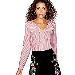 Red Herring - Pink striped ruffle top