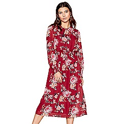 Red Herring - Wine floral long sleeves midi dress