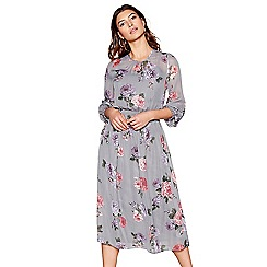 Red Herring - Grey floral long sleeves midi dress
