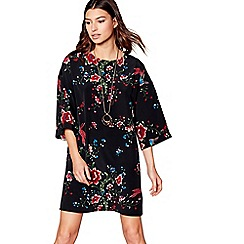 Red Herring - Black floral kimono sleeves shift dress