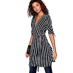 Red Herring - Black striped v-neck mini wrap dress