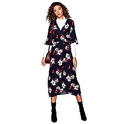 Red Herring - Multi-coloured floral print jacquard v-neck midi wrap dress