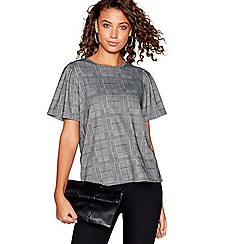 Red Herring - Grey checked puff sleeves top