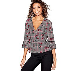 Red Herring - Black and pink mini checked floral print wrap top