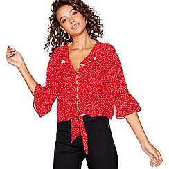 Red Herring - Red spot print ruffle blouse