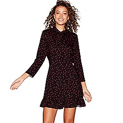 Red Herring - Black strawberry print mini shirt dress