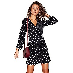 Red Herring - Black spot print long sleeves v-neck mini wrap dress