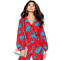Red Herring - Red floral 'Cordelia' wrap front blouse