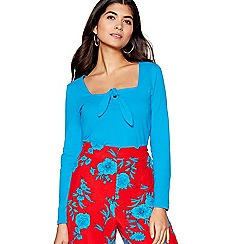Red Herring - Bright blue jersey knot front top
