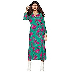 Red Herring - Green floral print 'Cordelia' long sleeve midi dress