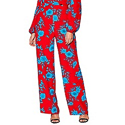 Red Herring - Red floral 'Cordelia' wide leg trousers