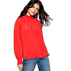 Red Herring - Red long sleeve shirred neck top