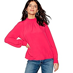 Red Herring - Pink long sleeve shirred neck top
