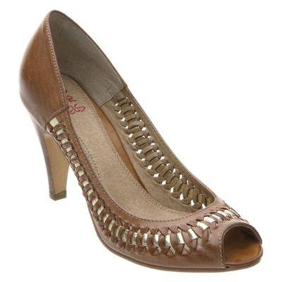 Peeptoe woven court shoe