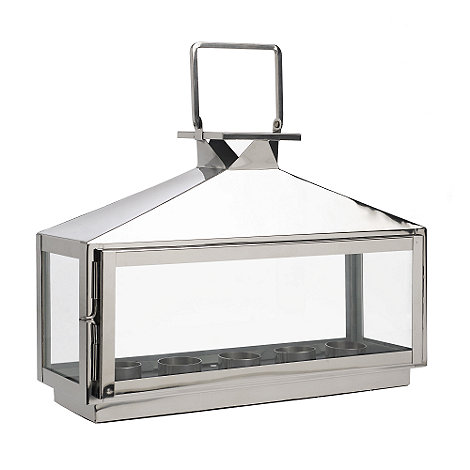Home Collection - Large decorative silver tea light lantern