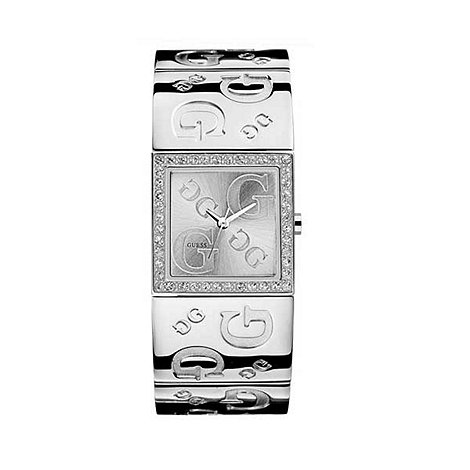 Guess - Ladies silver coloured logo dial with engraved bangle watch