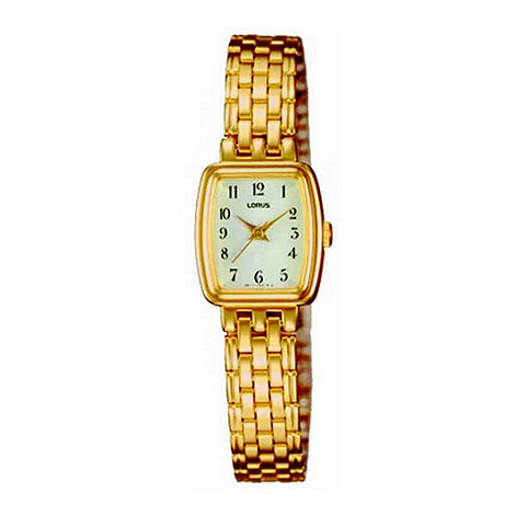 Lorus - Ladies cream dial with gold plated weave bracelet watch