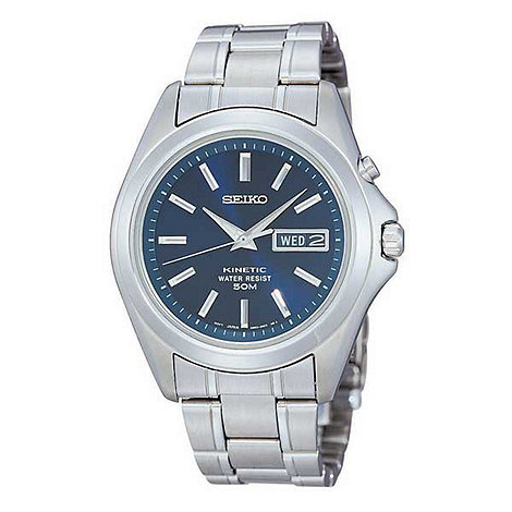 Seiko - Men+s blue dial with stainless steel bracelet watch