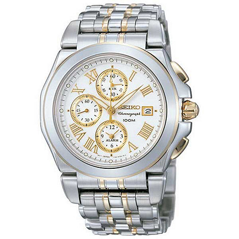 Seiko - Men's white chronograph dial with two tone strap watch