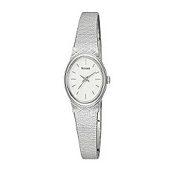 Pulsar - Ladies oval white dial with metal bracelet watch