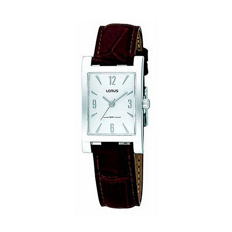 Lorus - Ladies white dial with brown leather strap watch