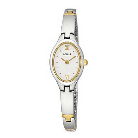 Lorus - Ladies white oval dial with two tone link bracelet watch