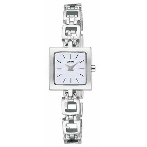 Lorus - Ladies white square dial with square link bracelet watch