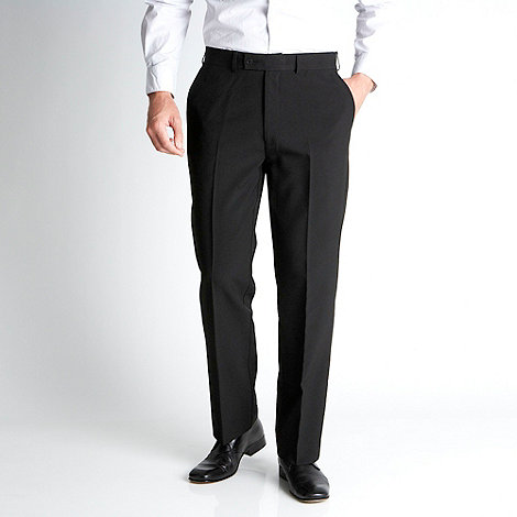 Thomas Nash - Big and tall black easy care flat front trousers