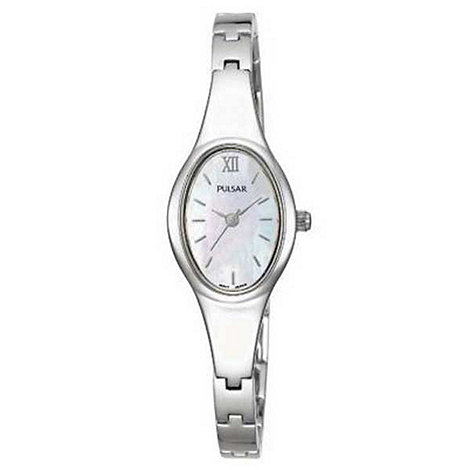 Pulsar - Ladies white oval mother of pearl bracelet watch