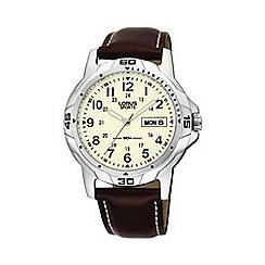 Lorus - Men's round cream dial with brown strap watch