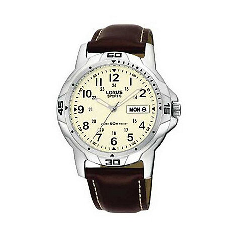 Lorus - Men+s round cream dial with brown strap watch