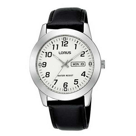 Lorus - Men+s white dial with black strap watch
