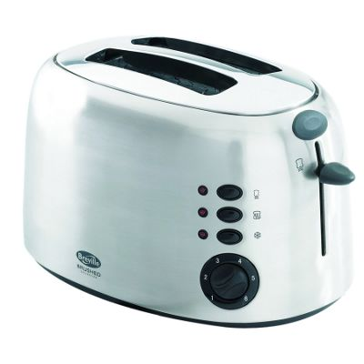 Silver 2 slice brushed toaster
