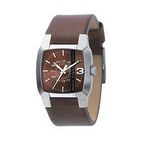 Diesel - Men+s brown square dial with brown strap watch
