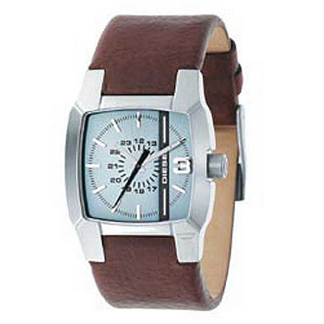 Diesel - Men+s light blue square dial with brown strap watch