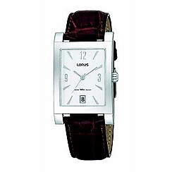 Lorus - Men's silver coloured dial with brown strap watch