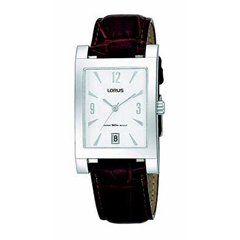 Lorus - Men+s silver coloured dial with brown strap watch
