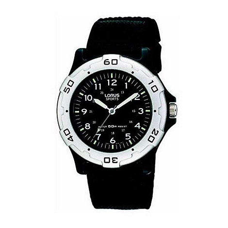 Lorus - Kids+ round dial with black fabric strap watch