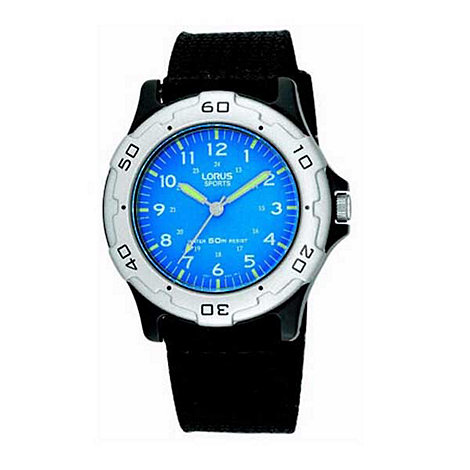 Lorus - Kids+ round blue dial with black strap watch