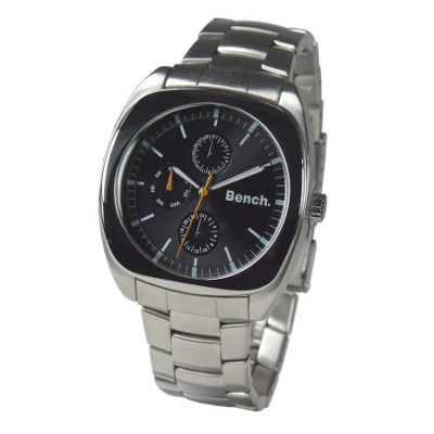 Mens round black dial with bracelet strap