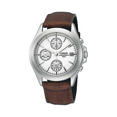 Lorus - Men+s white chronograph dial with brown strap watch rf325bx9