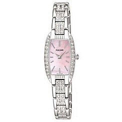Pulsar - Ladies rectangular pink mother of pearl dial with bracelet watch