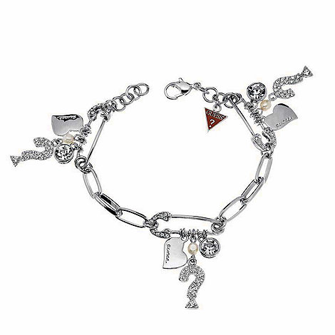 Guess - Silver coloured safety pin & charm bracelet