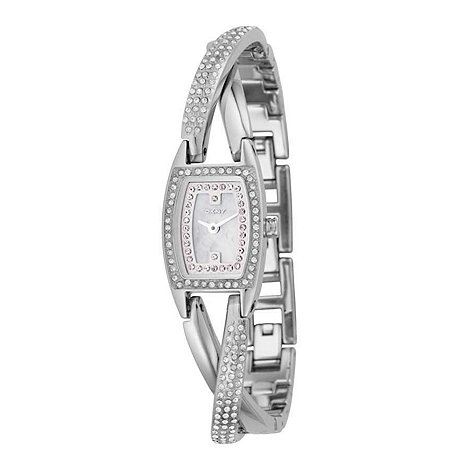 DKNY - Ladies diamante silver half bangle bracelet watch
