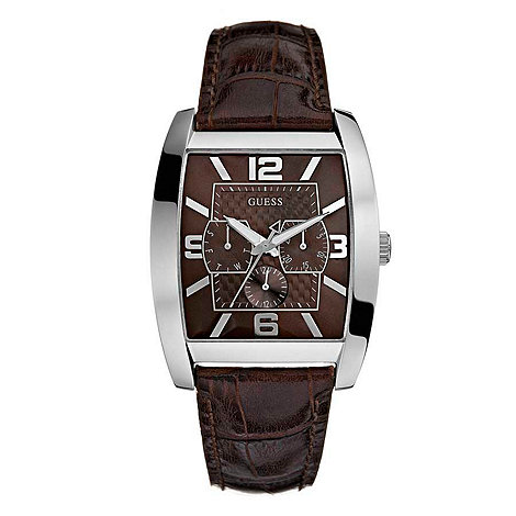 Guess - Men+s square dial with brown mock croc strap watch